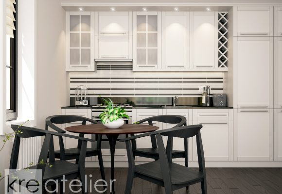 kitchen design with a dining area