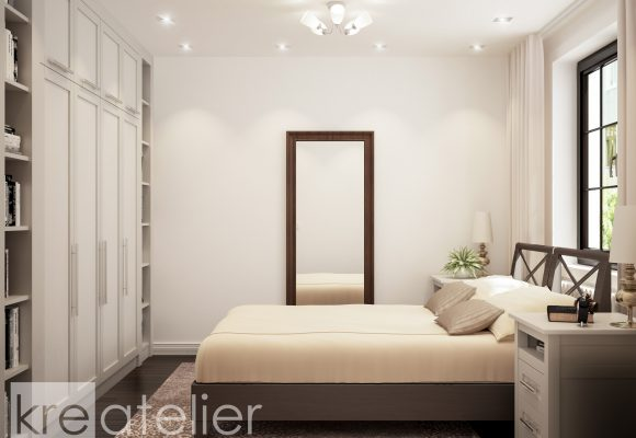 bedroom design with a large wardrobe with shelves