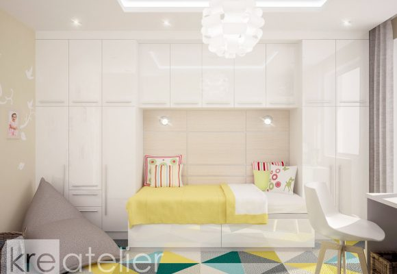 girl's bedroom design with one bed