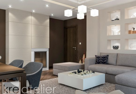 Modern Living Room Design With A Fireplace