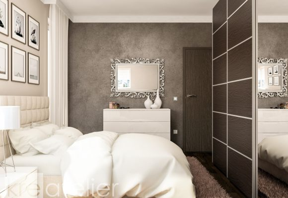 bedroom design with a brown feature wall