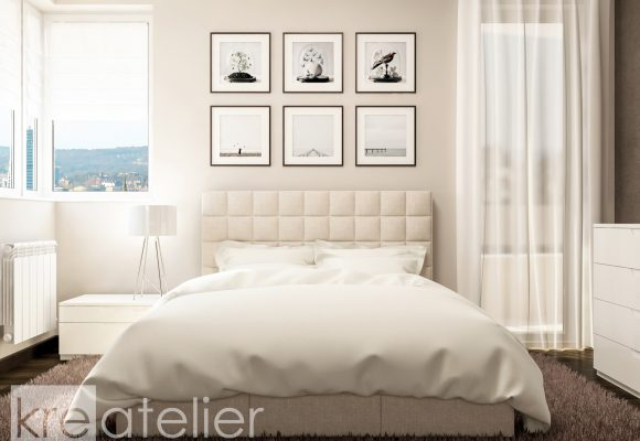 bedroom design with an upholstered bed