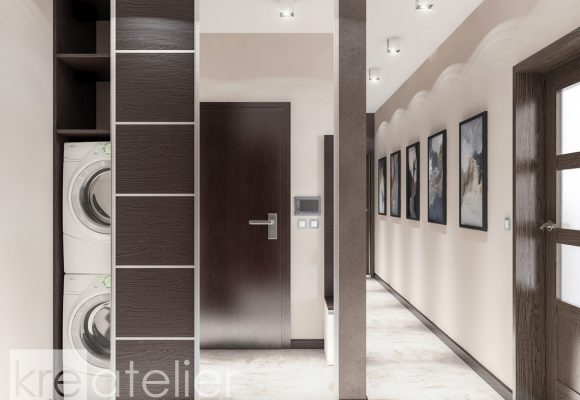foyer design with a built-in wardrobe