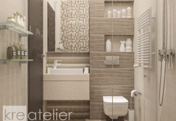 bathroom design with a wall-hung toilet seat and a vanity cabinet