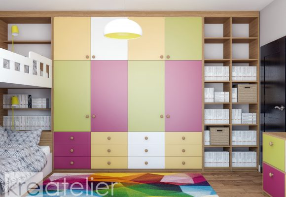 wardrobe design with colorful doors