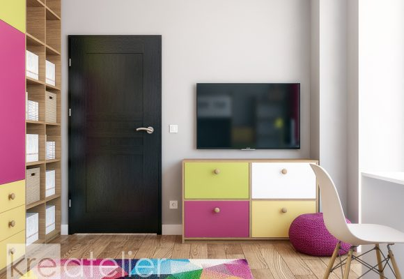 children's bedroom with a tv and a toy cabinet