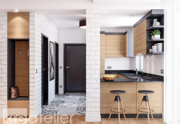 u-shaped kitchen with a bar counter