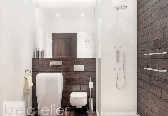 modern bathroom in white and brown
