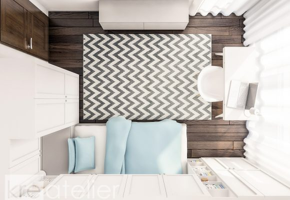 kid's bedroom design with one bed