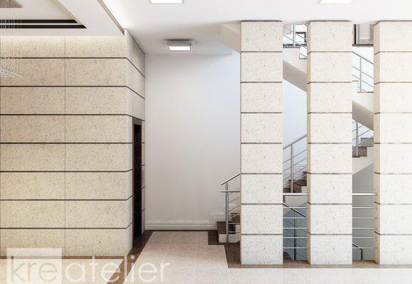 stairs and elevator area design in a residential building