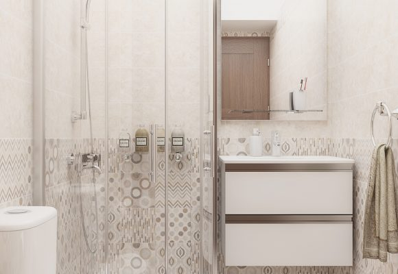 bathroom design with patchwork tiles
