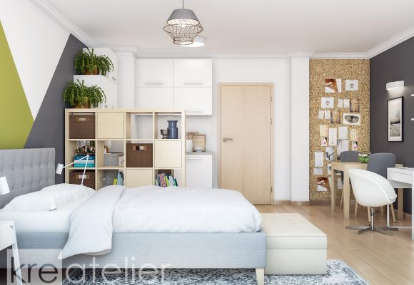 sleeping area with a room divider shelving unit