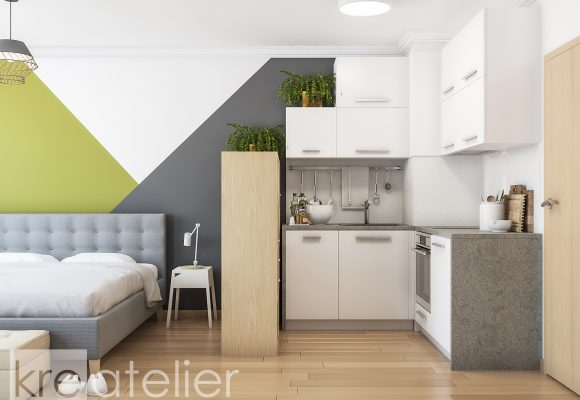 small kitchen design in white and grey