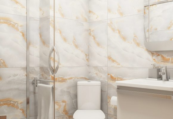 simple bathroom design with onyx patterned tiles
