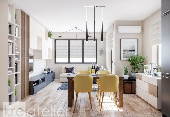 Modern Interior Design Of A Two Bedroom Apartment. View. Living Room With  Yellow Accents