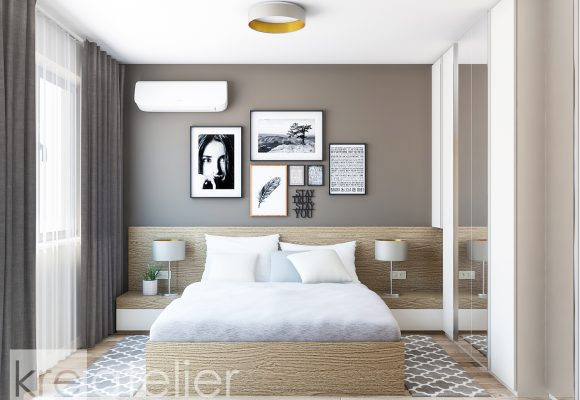bedroom design with a cappuccino colored accent wall