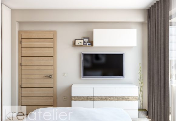 dresser with a wall-mount TV and a wall-mount cabinet