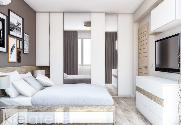 wardrobe design with doors in creamy white and mirrors