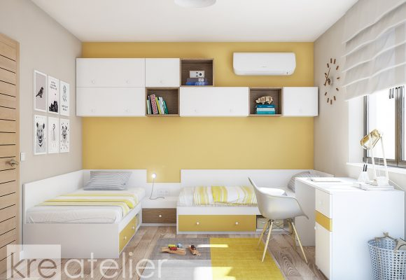 kids bedroom design with yellow accents