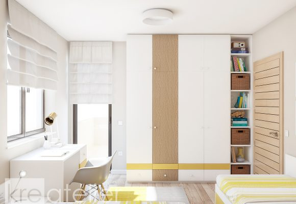 shared bedroom with a large wardrobe with a bookcase