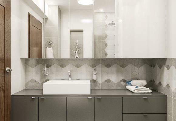 vanity cabinet with a sink, wall cabinet with mirror doors, and a water heater cabinet