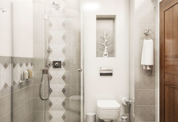 bathroom design with a corner shower area and a wall-mounted toilet