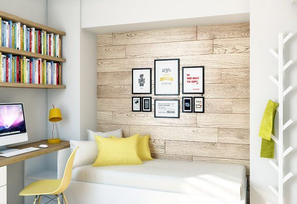 bedroom design with a feature wall in oak laminate