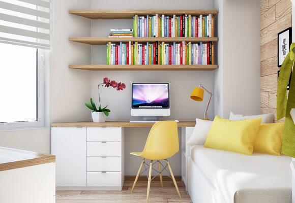 small room with a single bed and a desk with wall shelves