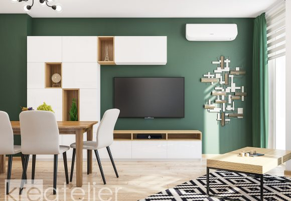 living room with a feature wall in dark green