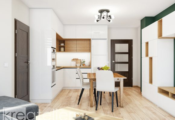 L-shaped kitchen in white gloss and light oak