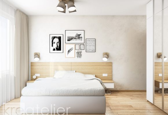 master bedroom with a feature wall in satin plaster
