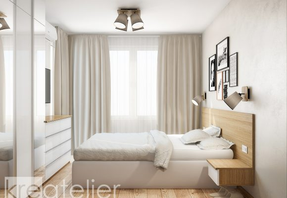 master bedroom with an upholstered bed