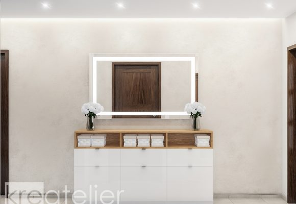 shoe cabinet with wall mirror