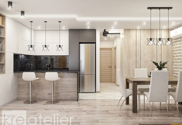 living room design with a kitchen area in white and dark grey