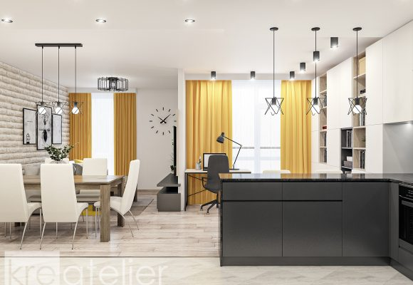 kitchen design with a bar counter