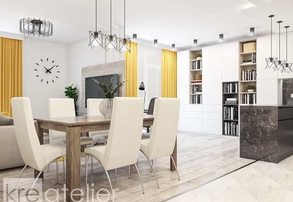 dining area with upholstered chairs in white faux leather