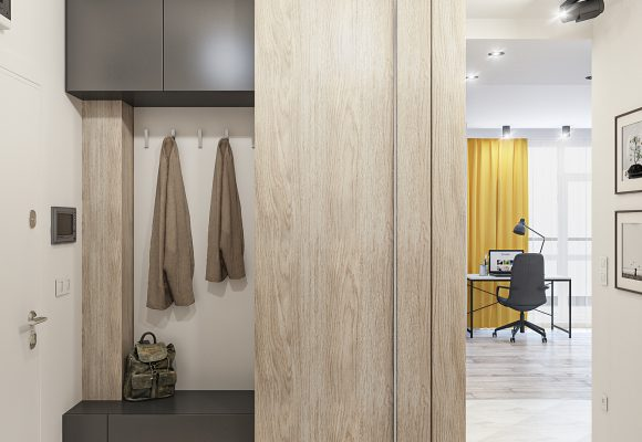 hallway design with a fitted wardrobe