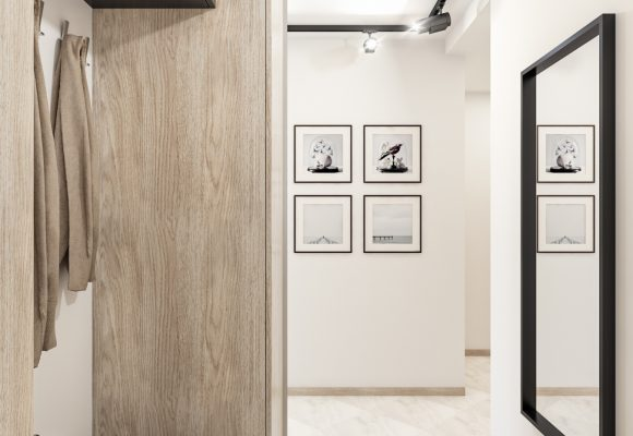 hallway design in white, grey and wood